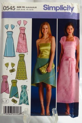 Simplicity 0545 Misses' Petite Strapless Dress with Skirt Variations, Shrug Jacket and Purse -  - Smiths Depot Sewing Pattern Superstore