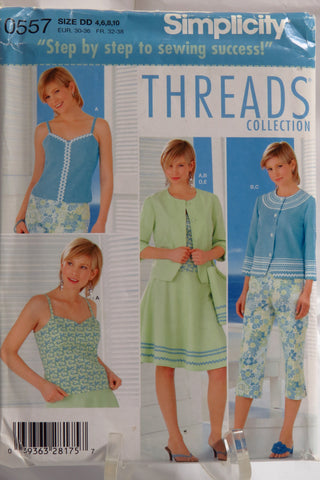 Simplicity 0557 Misses/Miss Petite Top, Jacket, Skirt, Capri Pants & Bag -  - Smiths Depot Sewing Pattern Superstore