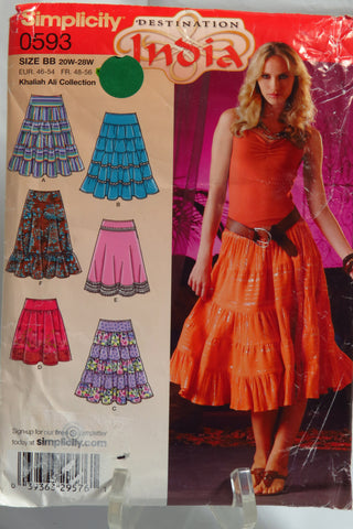 Simplicity 0593 Misses'/Womens Skirts with length and trim variations -  - Smiths Depot Sewing Pattern Superstore
