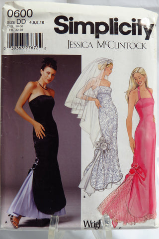 Simplicity 0600 Misses'/Miss Petite Evening/Wedding Gown and Veil - DD (4-6-8-10) - Smiths Depot Sewing Pattern Superstore  - 1