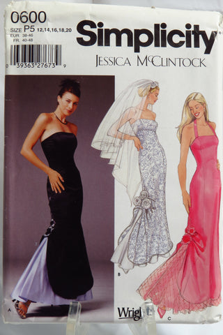 Simplicity 0600 Misses'/Miss Petite Evening/Wedding Gown and Veil - P5 (12-14-16-18-20) - Smiths Depot Sewing Pattern Superstore  - 2