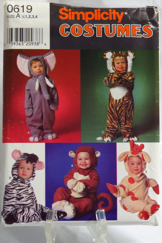 Simplicity 0619 Toddlers' Costumes - A (1/2-1-2-3-4) - Smiths Depot Sewing Pattern Superstore