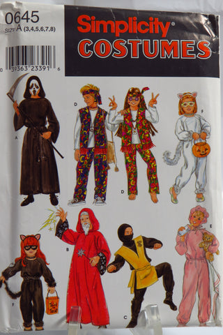 Simplicity 0645 Child's 2 Hour Costumes - A (3-4-5-6-7-8) - Smiths Depot Sewing Pattern Superstore