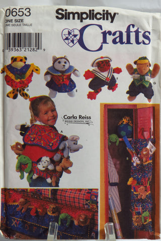 "Simplicity 0653 Accessories For 9"" Beanbag Animals -  - Smiths Depot Sewing Pattern Superstore"