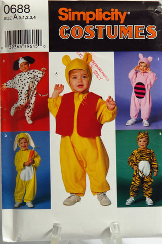 Simplicity 0688 Child's/Toddlers' Costumes - A (1/2-1-2-3-4) - Smiths Depot Sewing Pattern Superstore