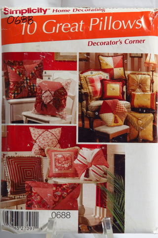 Simplicity 0688 Decorating Pillows -  - Smiths Depot Sewing Pattern Superstore