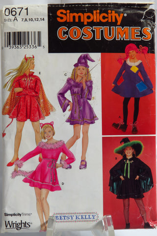 Simplicity 0671 Girls' Dress Costumes - A (7-8-10-12-14) - Smiths Depot Sewing Pattern Superstore