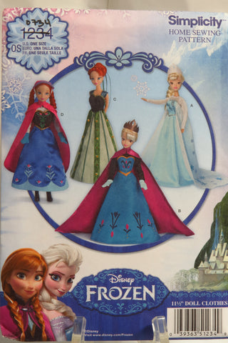 "Simplicity 1234 Disney Frozen 11½"" Fashion Barbie Doll Clothes -  - Smiths Depot Sewing Pattern Superstore"