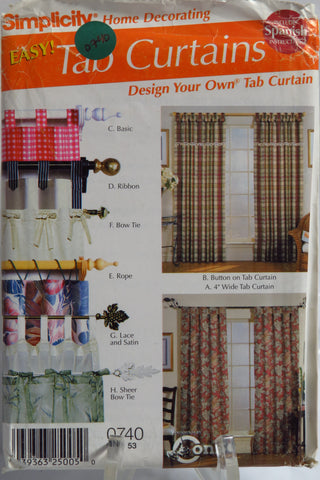 Simplicity 0740 Tab Curtains in Eight Styles -  - Smiths Depot Sewing Pattern Superstore