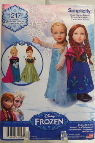 "Simplicity 1217 Disney Frozen Fashion 18"" Doll Clothes -  - Smiths Depot Sewing Pattern Superstore"