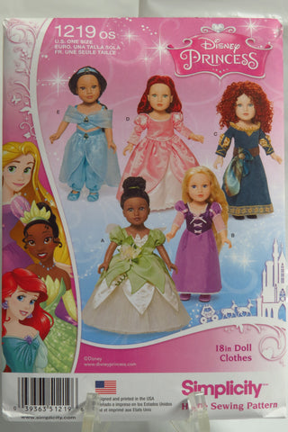 "Simplicity 1219 Disney Princess Fashion 18"" Doll Clothes -  - Smiths Depot Sewing Pattern Superstore"
