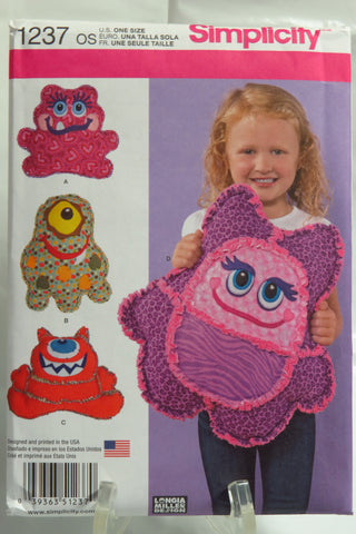 Simplicity 1237 Rag Quilted Monster Pillows -  - Smiths Depot Sewing Pattern Superstore