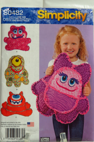 Simplicity 0482 Rag Quilted Monster Pillows -  - Smiths Depot Sewing Pattern Superstore