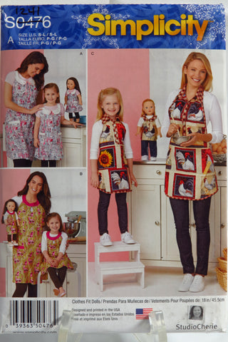 "Simplicity 0476 Child's and Misses' Aprons and Aprons for 18"" Doll -  - Smiths Depot Sewing Pattern Superstore"