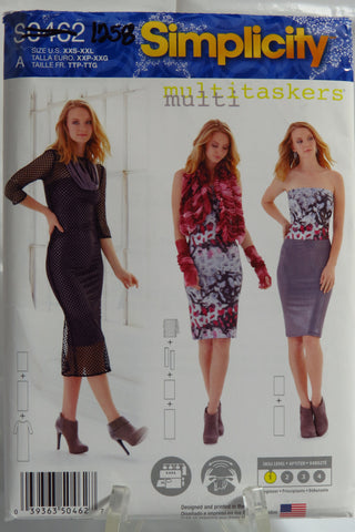 "Simplicity 0462 Misses' Knit Dress, 24"" and 36"" Columns, Gauntlets and Gathered Wrap - A (XXS-XXL) - Smiths Depot Sewing Pattern Superstore"
