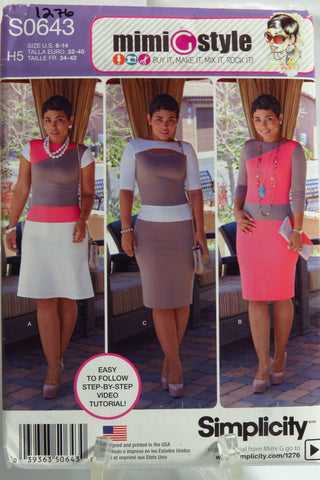 Simplicity 0643 Misses'/Miss Petite Knit Dress with Bodice and Skirt Variations -  - Smiths Depot Sewing Pattern Superstore
