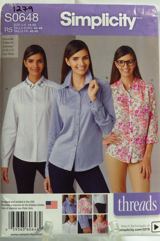 Simplicity 0648 Misses' Shirt with Collar Variations, Separate Pattern Included for B,C,D Cup Sizes - R5 (14-16-18-20-22) - Smiths Depot Sewing Pattern Superstore  - 1