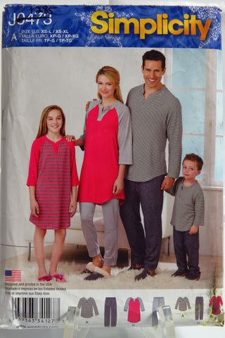Simplicity 0473 Child's Teens' and Adults' Knit Top Pajamas and Pants -  - Smiths Depot Sewing Pattern Superstore