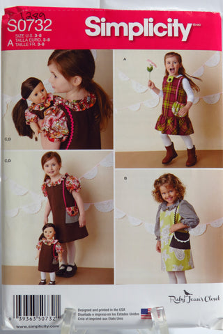 "Simplicity 0732 Child's Dresses and Doll Dress for 18"" Doll -  - Smiths Depot Sewing Pattern Superstore"