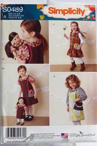 "Simplicity 0489 Child's Dresses and Doll Dress for 18"" Doll -  - Smiths Depot Sewing Pattern Superstore"