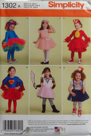 Simplicity 1302 Toddler's Costumes with Knit Leggings -  - Smiths Depot Sewing Pattern Superstore
