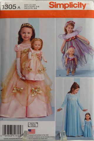 "Simplicity 1305 Child's Costumes and Costumes for 18"" Doll -  - Smiths Depot Sewing Pattern Superstore"
