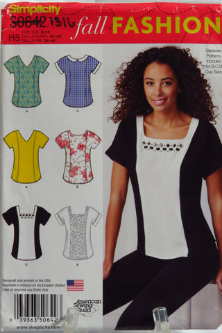 Simplicity 0642 Misses' Top with Neckline Variations, Separate Pattern for B,C,D Cup Sizes - H5 (6-8-10-12-14) - Smiths Depot Sewing Pattern Superstore