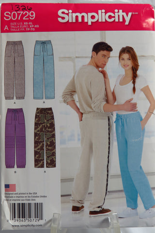 Simplicity 0729 Misses' and Men's Track Pants -  - Smiths Depot Sewing Pattern Superstore