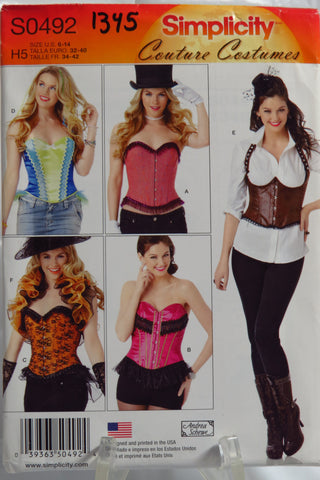 Simplicity 0492 Misses' Corsets and Ruffled Shrug Couture Costumes -  - Smiths Depot Sewing Pattern Superstore
