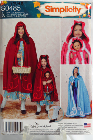 "Simplicity 0485 Child's and Misses' Capes and Capes for 18"" Doll -  - Smiths Depot Sewing Pattern Superstore"