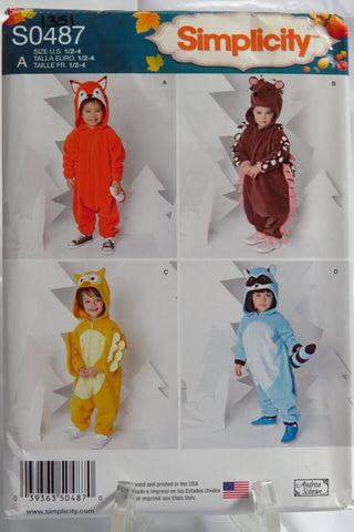 Simplicity 0487 Toddlers' Animal Costumes -  - Smiths Depot Sewing Pattern Superstore
