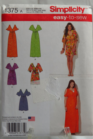 Simplicity 1375 Misses' Pullover Dress in Two Lengths with Bodice Variations -  - Smiths Depot Sewing Pattern Superstore