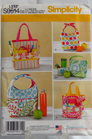 Simplicity 0614 Art Caddies, Lunch Bags and Snack Bag -  - Smiths Depot Sewing Pattern Superstore