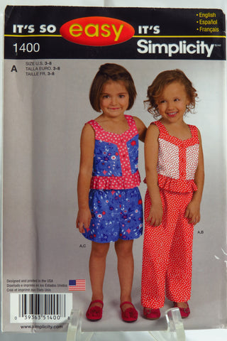 Simplicity 1400 Child's Top, Pants or Shorts -  - Smiths Depot Sewing Pattern Superstore