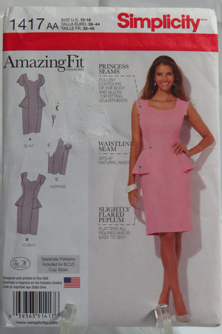 Simplicity 1417 Misses' and Women's Amazing Fit Peplum Dress -  - Smiths Depot Sewing Pattern Superstore