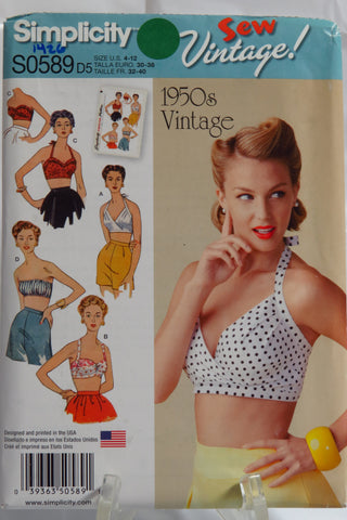 Simplicity 0589 Misses' Bra Tops 1950's Vintage - D5 (4-8-10-12) - Smiths Depot Sewing Pattern Superstore