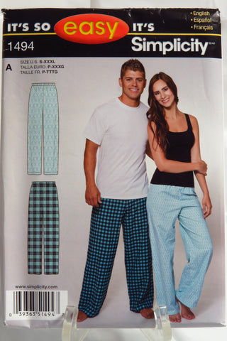 Simplicity 1494 Women's and Men's Pull-on Pajama Pants - A (S-XXXL) - Smiths Depot Sewing Pattern Superstore