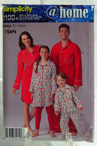 Simplicity 0100 Child's, Teen's and Adults' Pajama Shirt in Two Lengths and Pants -  - Smiths Depot Sewing Pattern Superstore
