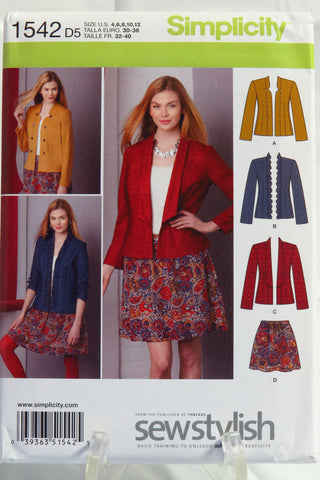 Simplicity 1542 Misses' Jacket with Front Variations and Skirt - D5 (4-6-8-10-12) - Smiths Depot Sewing Pattern Superstore  - 1