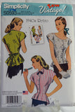 Simplicity 0593 Misses' 1940's Retro Blouse with Neckline Variations - H5 (6-8-10-12-14) - Smiths Depot Sewing Pattern Superstore  - 1