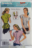 Simplicity 0593 Misses' 1940's Retro Blouse with Neckline Variations - U5 (16-18-20-22-24) - Smiths Depot Sewing Pattern Superstore  - 2
