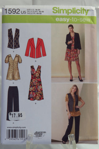 Simplicity 1592 Misses' Seperates Pants, Dress or Tunic and Jacket or Vest - U5 (16-18-20-22-24) - Smiths Depot Sewing Pattern Superstore