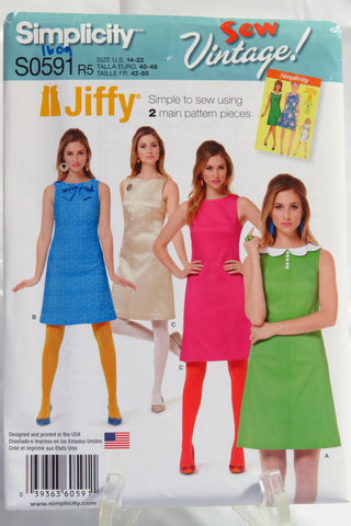 Simplicity 0591 Misses' Jiffy 1970's Dress - R5 (14-16-18-20-22) - Smiths Depot Sewing Pattern Superstore  - 1