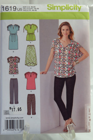 Simplicity 1619 Misses' Loose Fitting Dress or Top and Knit Pants in Two Lengths and Skirt - U5 (16-18-20-22-24) - Smiths Depot Sewing Pattern Superstore  - 1