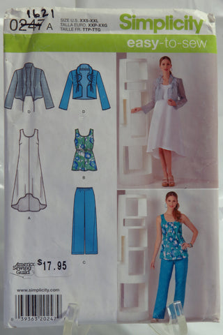 Simplicity 0247 Misses' Pullover Dress or Tunic, Pants and Jacket - A (XXS-XXL) - Smiths Depot Sewing Pattern Superstore