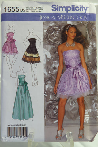Simplicity 1655 Misses'/Miss Petite Special Occasion Dress - D5 (4-6-8-10-12) - Smiths Depot Sewing Pattern Superstore  - 1