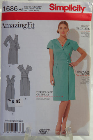 Simplicity 1686 Misses' & Miss Petite Amazing Fit Dress - H5 (6-8-10-12-14) - Smiths Depot Sewing Pattern Superstore