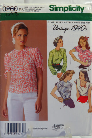 Simplicity 0260 Misses' Vintage 1940's Tops - R5 (14-16-18-20-22) - Smiths Depot Sewing Pattern Superstore