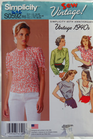 Simplicity 0592 Misses' Vintage 1940's Tops - R5 (14-16-18-20-22) - Smiths Depot Sewing Pattern Superstore