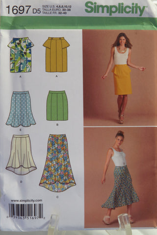 Simplicity 1697 Misses'/Miss Petite Set of Skirts with Length Variations - D5 (4-6-8-10-12) - Smiths Depot Sewing Pattern Superstore  - 1